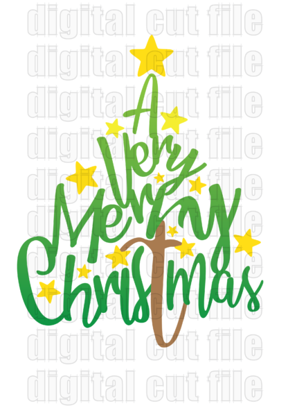 christmasy words shaped into a green christmas tree with yellow stars
