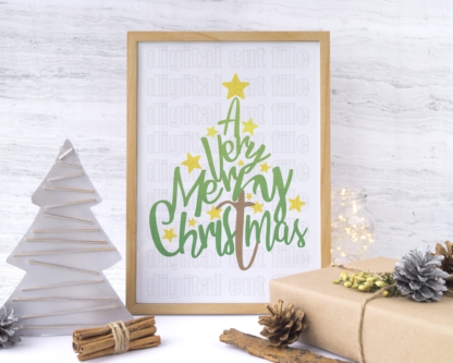wood frame with decorative christmas ornaments