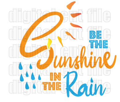 fancy text sunshine in the rain with blue rain drops and yellow sunshine