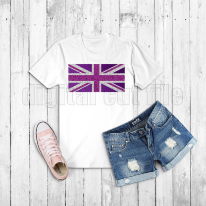 white tshirt with pink and purple union jack