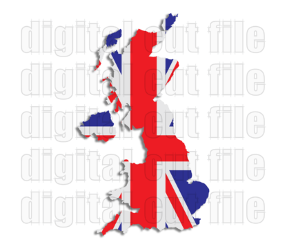 union jack plag within united kingdom shape coloured red white and blue