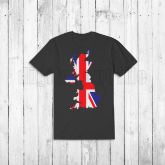 dark tshirt with united kingdom shaped union jack