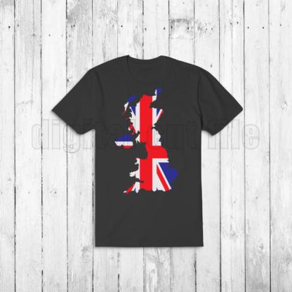 dark tshirt with united kingdom shaped union jack
