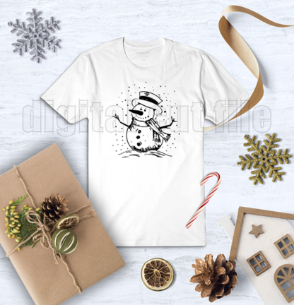 snowman on white tshirt with christmas decorative background