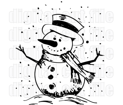 black and white snowman wearing a hat and scarf