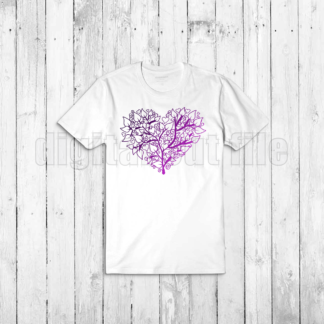heart shaped tree illustration on white tshirt