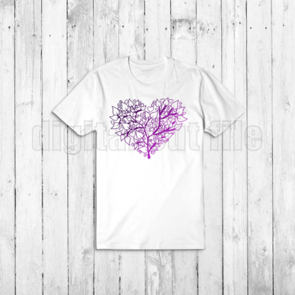 heart shaped tree illustration on white tshirt