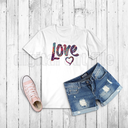 word love on a white tshirt blue denim shorts and pink trainer grey background