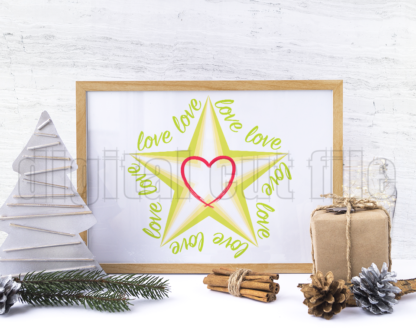 festive montage of a wrapped gift pinecone card shaped tree and frame with layered star shape surrounded by love words