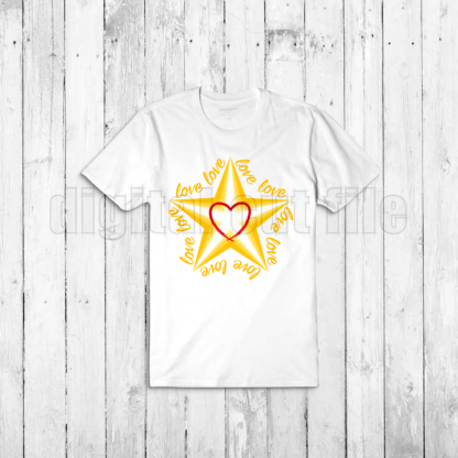 plaie tshirt with layered star shape surrounded by love words