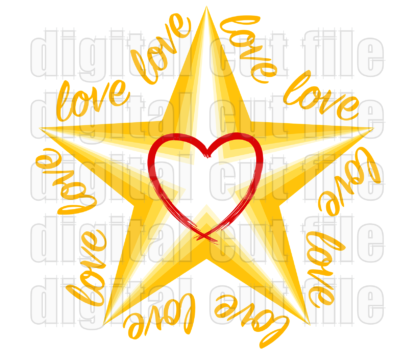 layered star shape surrounded by love words