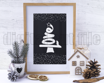 Christmas tree love word shape with star framed with festive decorations