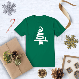 Christmas tree love word shape with star on tshirt with festive decorations