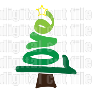 Christmas tree love word shape with star