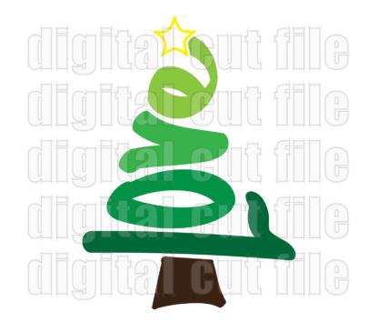 Christmas tree love word shape with star