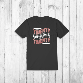 black tshirt with happy new year twenty twenty