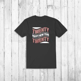 black tshirt with happy new year twenty twenty