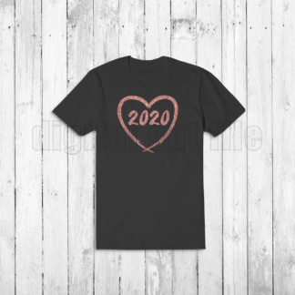 black tshirt rose colured heart numbers 2020 for new year