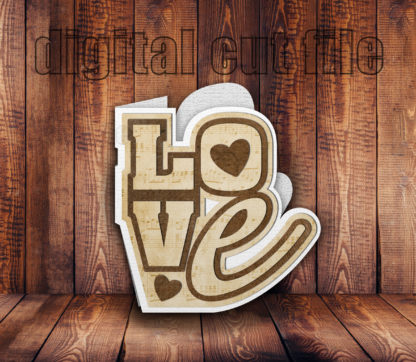 brown wood backdrop to 3D Love letters shaped folded card