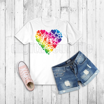 multiple coloured hearts in the shape of a heart on a white tshirt